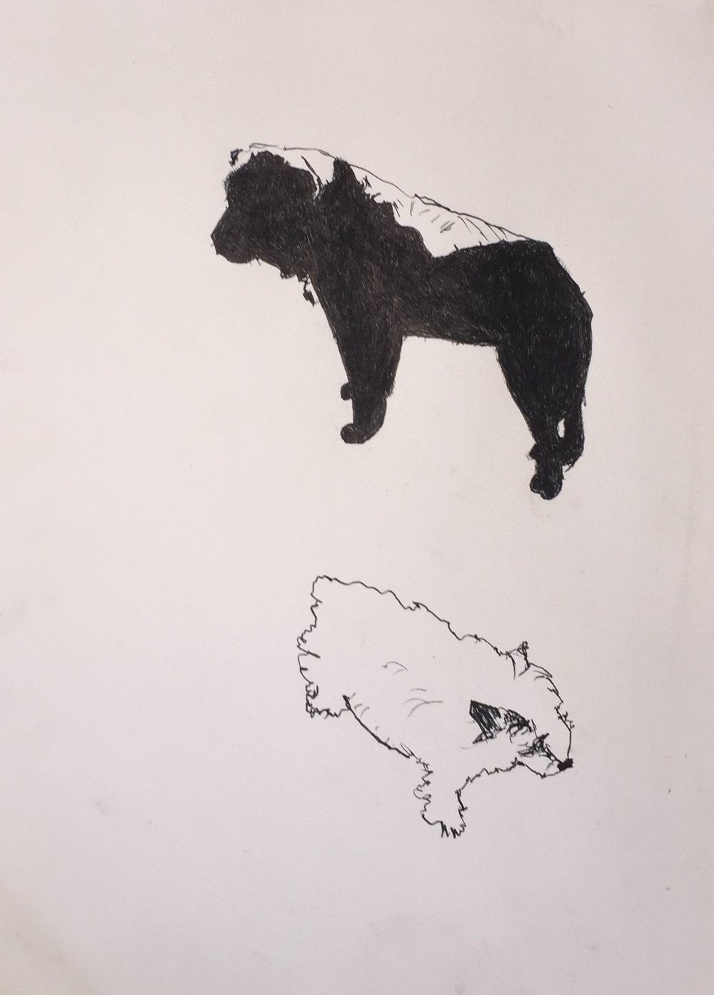 Big dog little dog, pen&ink and charcoal, 7x9-1/2, $25