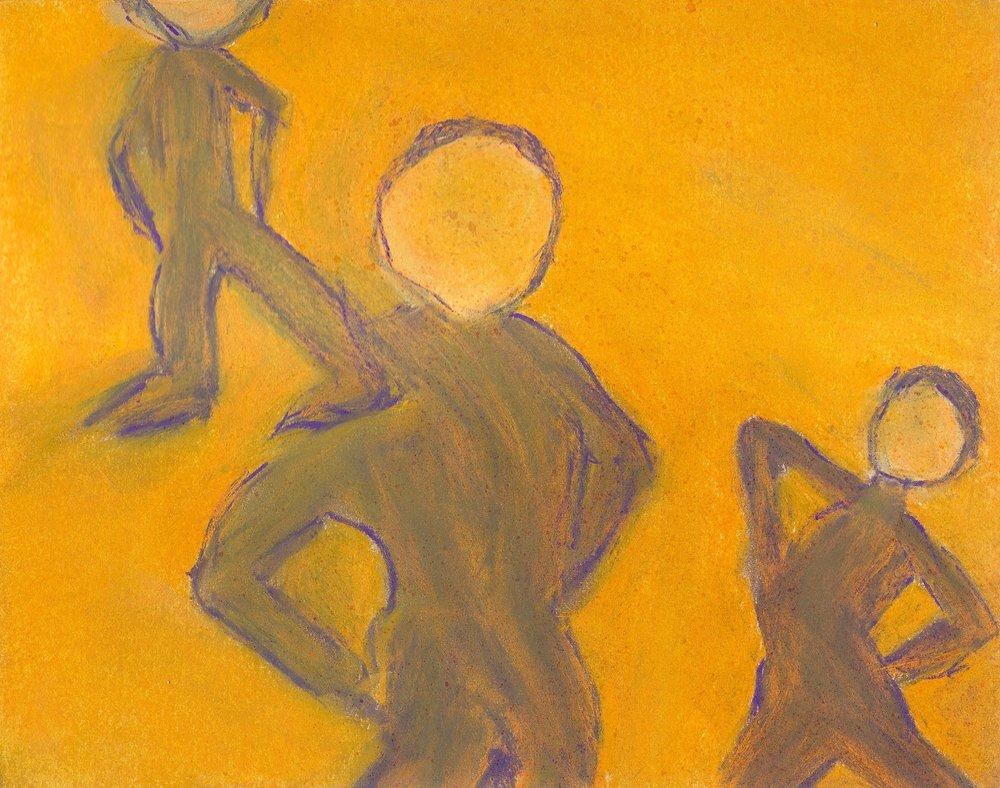 3 figures, pastel, 9x12, $40