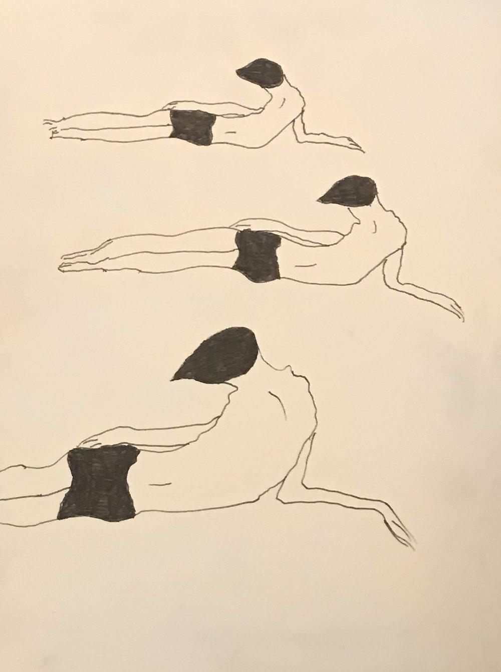 3 boys, pen&ink, 9x12, $25