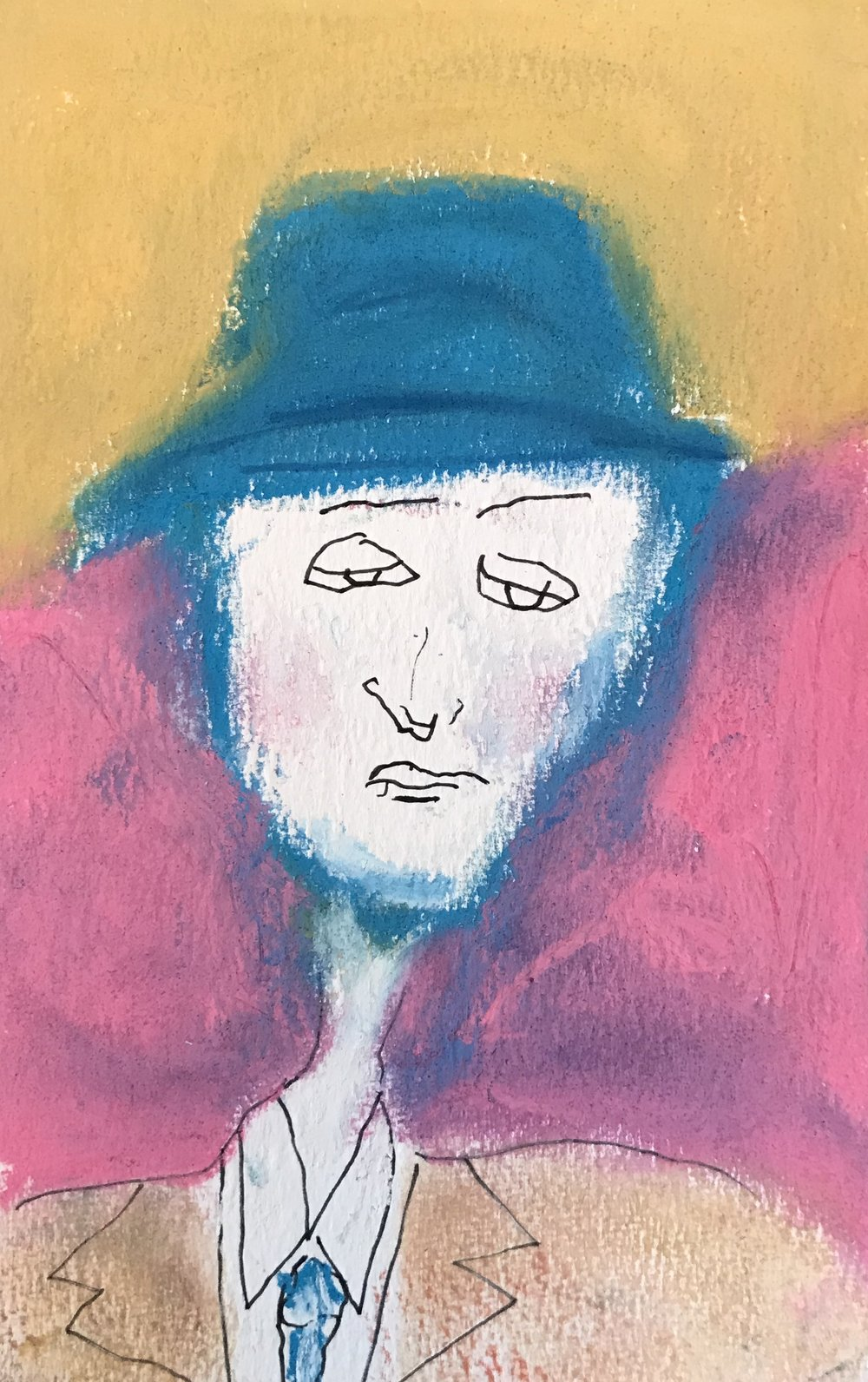 Woman in a fedora, pen&ink and pastel, 4x7, $20