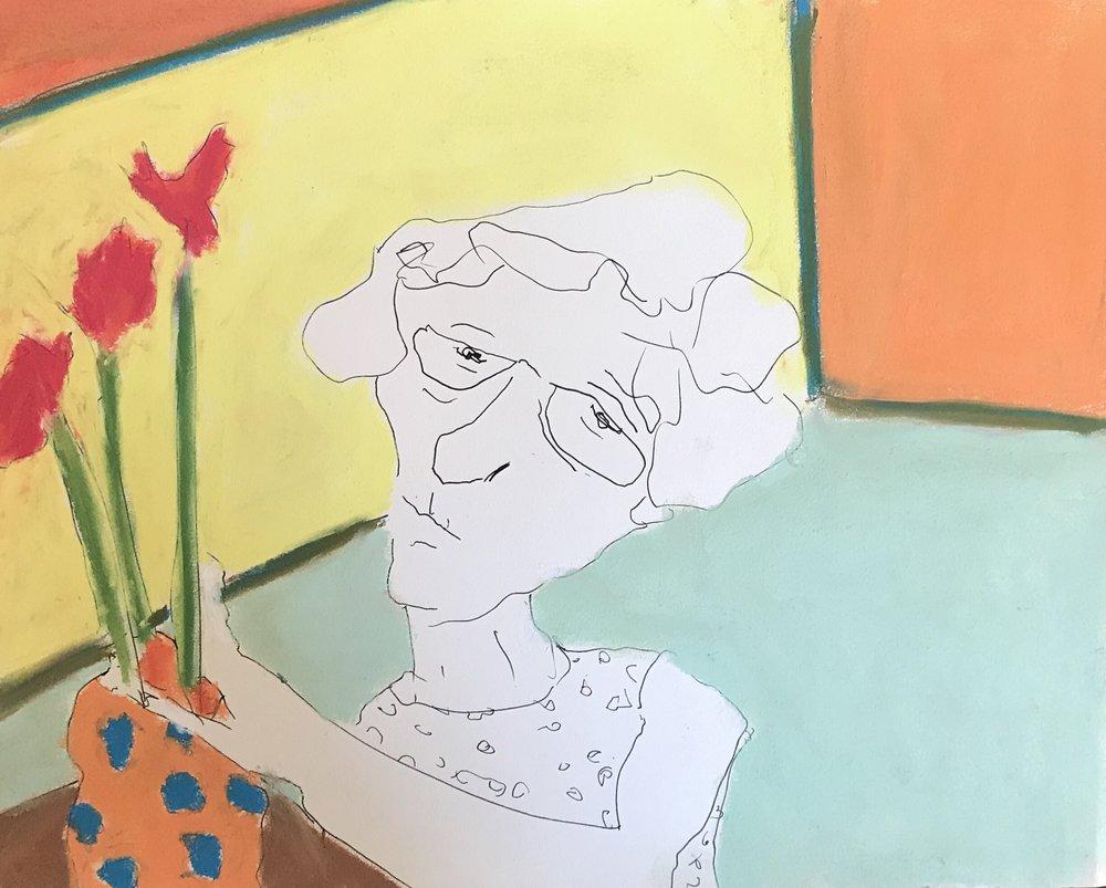 Flower arrangement, pen&ink and pastel, 9x12, $25