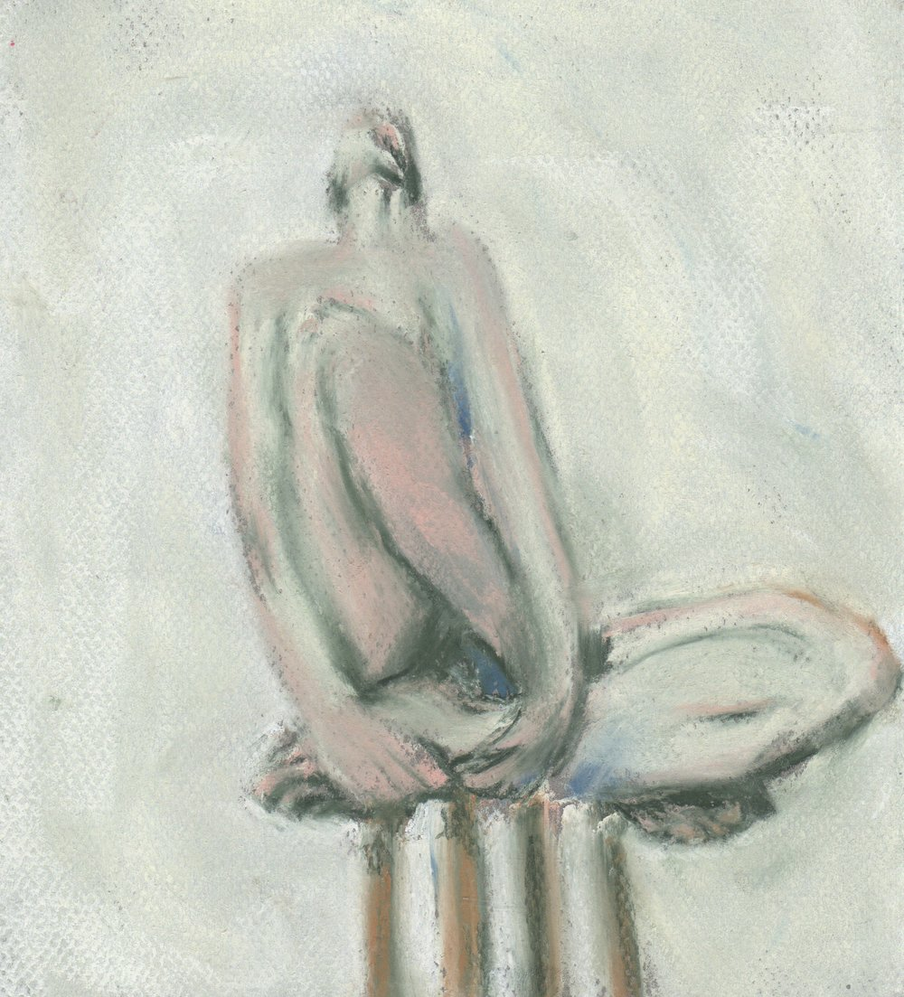 Nude on a stool, pastel, 8x10, $45