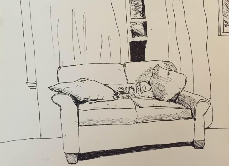 Love seat, pen&ink, 12x9, $30
