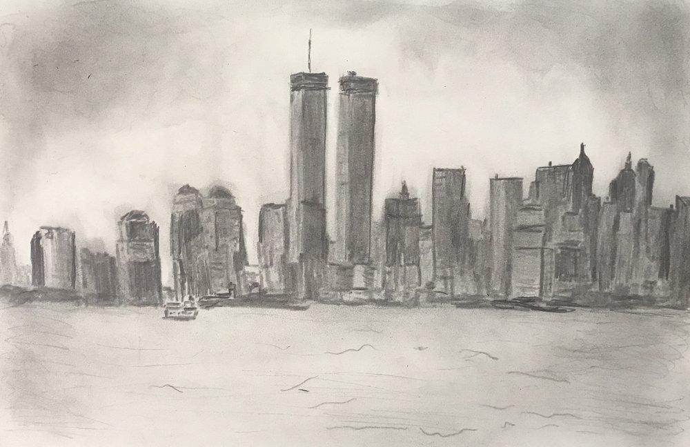 Skyline at dusk, pencil, 12x9, $50