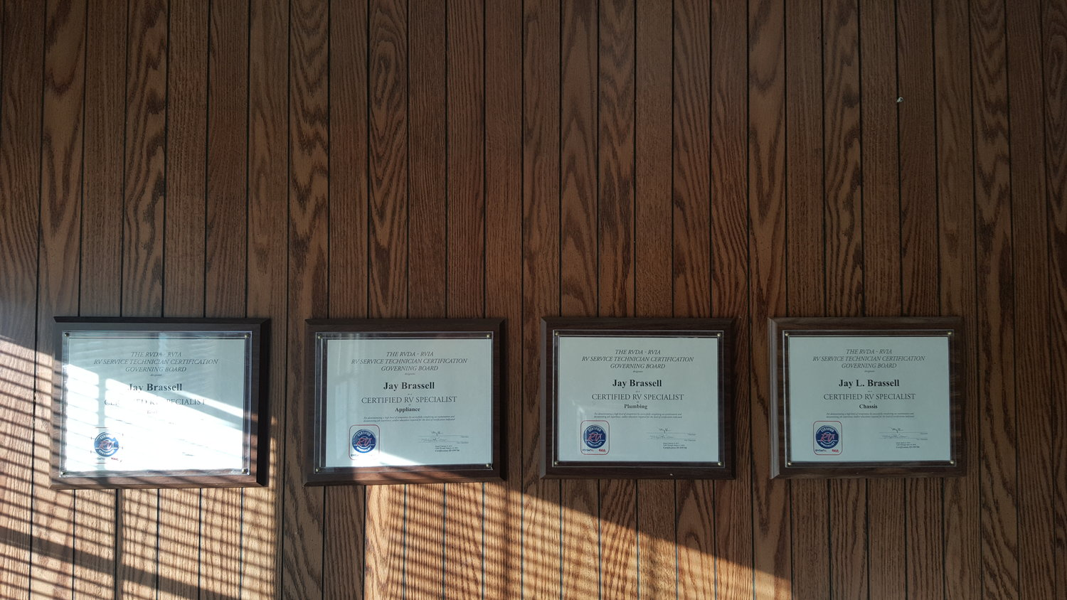 Certifications jays rv llc plaqueg 1betcityfo Image collections
