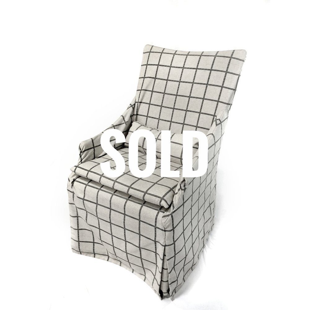 Upholstered Slip Covered Dining Chairs   SOLD