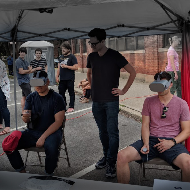 360 headsets at outdoor festival