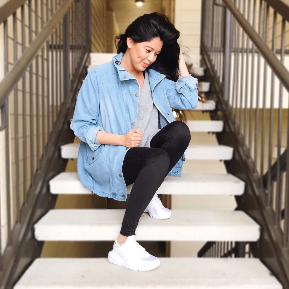 DETAILS | Jacket - c/o  SHEIN , Maternity Leggings - Target, Shoes - Nike, Top - Anthopologie