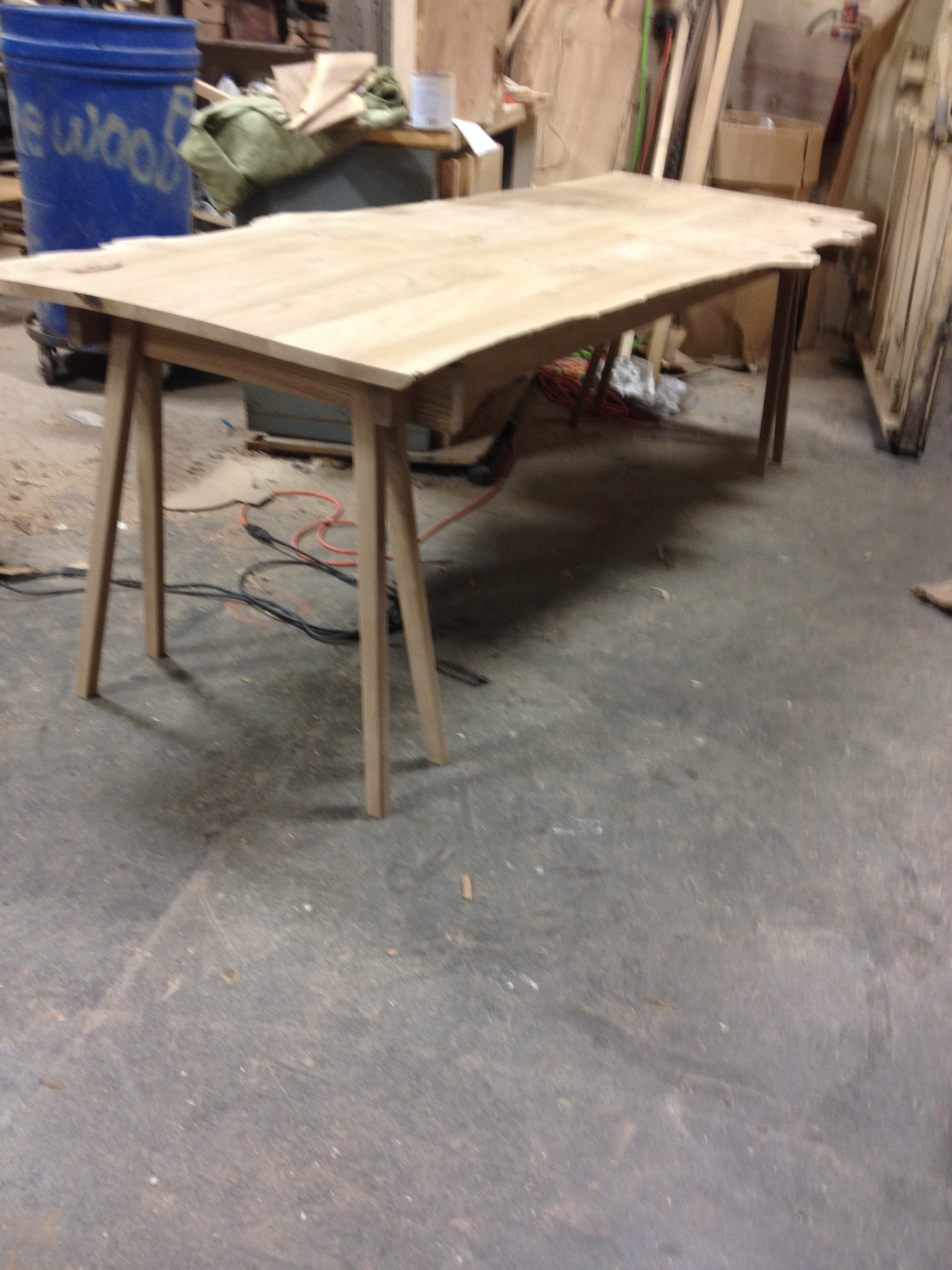 Elm Table Before finish