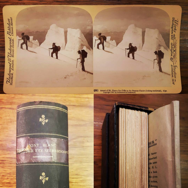 """This cheeky book is hiding a secret...it's not just a book! """"Mont Blanc Through the Stereoscope"""" is a box shaped like a book that actually contains a small booklet, describing the travels of M.S. Emery through Switzerland, as well as 23 stereoscopic cards. Stereoscopy is a technique for creating the illusion of depth in an image by placing two offset images separately to the left and right eye of the viewer. They are then combined in the brain when viewed through a stereoscope, to give the perception of depth. This collection was published in 1902 of a trip to Mont Blanc in 1901. The stereogram above is of the ascent of Mont Blanc between the Petit and Grand Plateaus."""