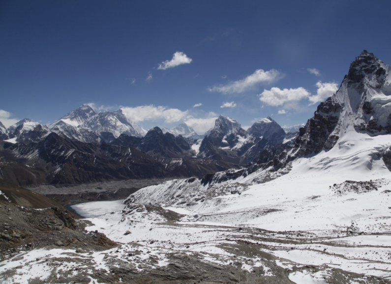 Views (from left to right) of Mt. Everest, Lhotse, Nupste, Makalu (far behind), Cholatse, Taboche, and Pharilapche, from Renjo La (5,360m).