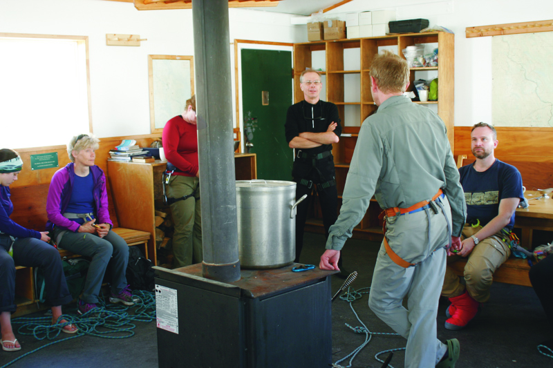 Knot practice inside Bow Hut. Photo by Kristy Davison.