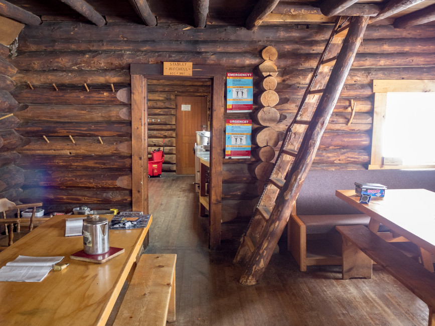 Inside Stanley Mitchell Hut. Photo by Leigh McClurg.