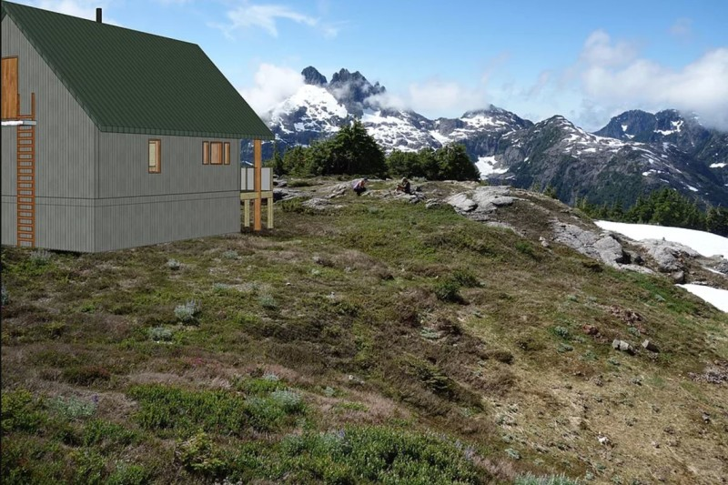 A drawing of the proposed location/size/scope of the 5040 Peak hut, looking towards Triple Peak.
