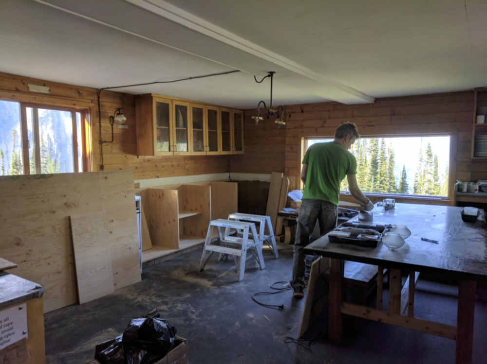 Nick begins rebuilding a section of the kitchen counter.
