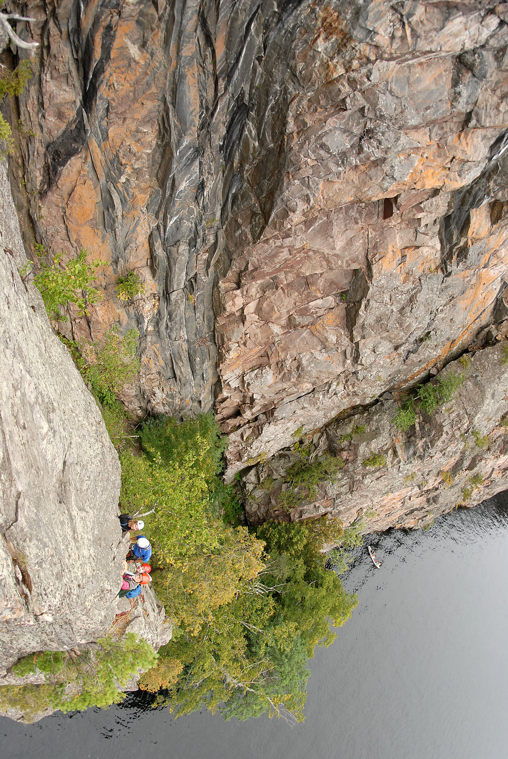 Climbing on Mazinaw Rock. Photo by Colin Huggard.