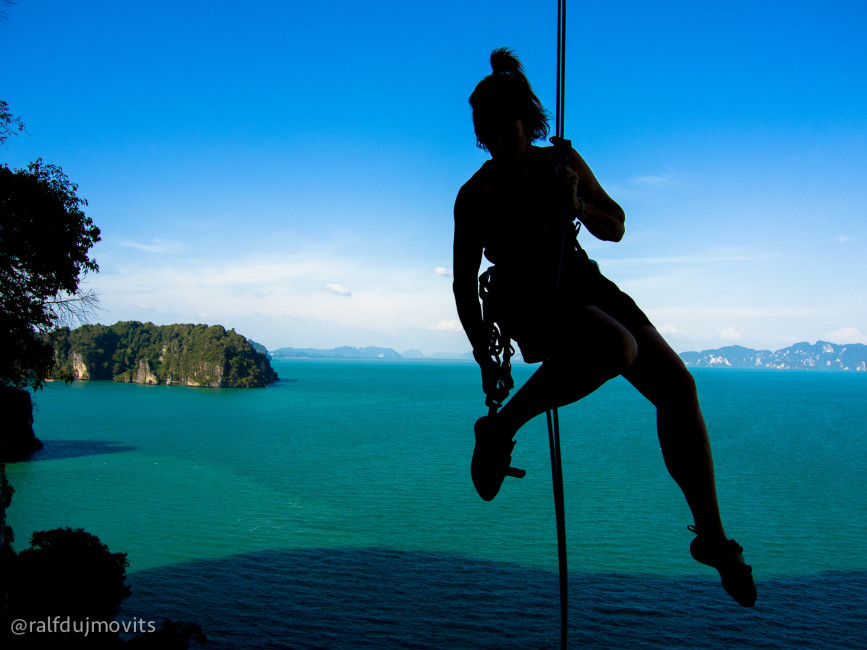 """Climbers rarely go to Koh Yao Noi because the approach to the climbs involves a one-hour """"four wheel drive"""" scooter ride and a half hour walk. It's completely worth it."""