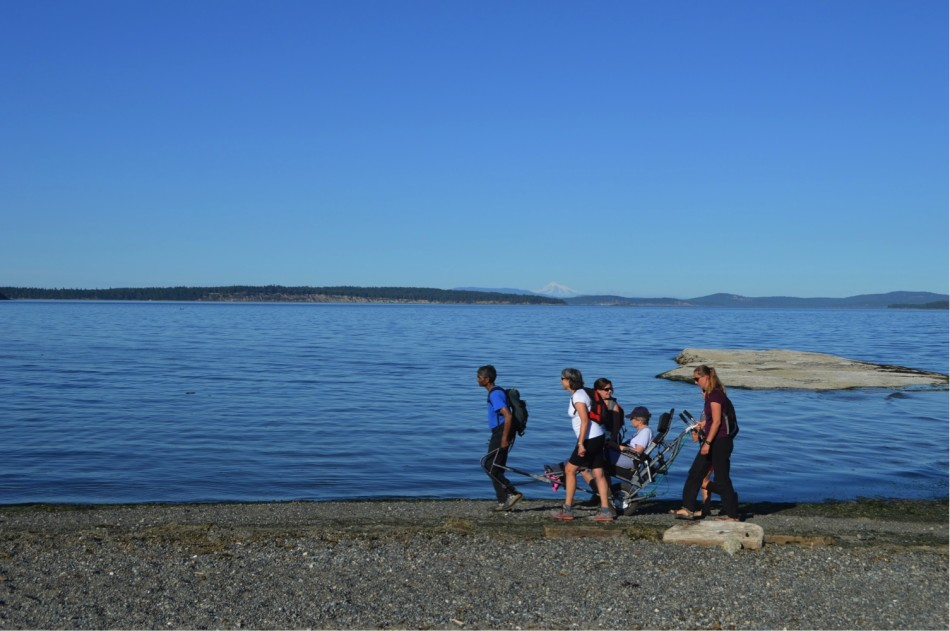 Left to Right: Karun Thanjavur, Madeleine Tremblay, Caroline Tansley, Cynthia Tansley and Lenka Visnovska at Island View Beach. Photo from ACC Vancouver Island collection.