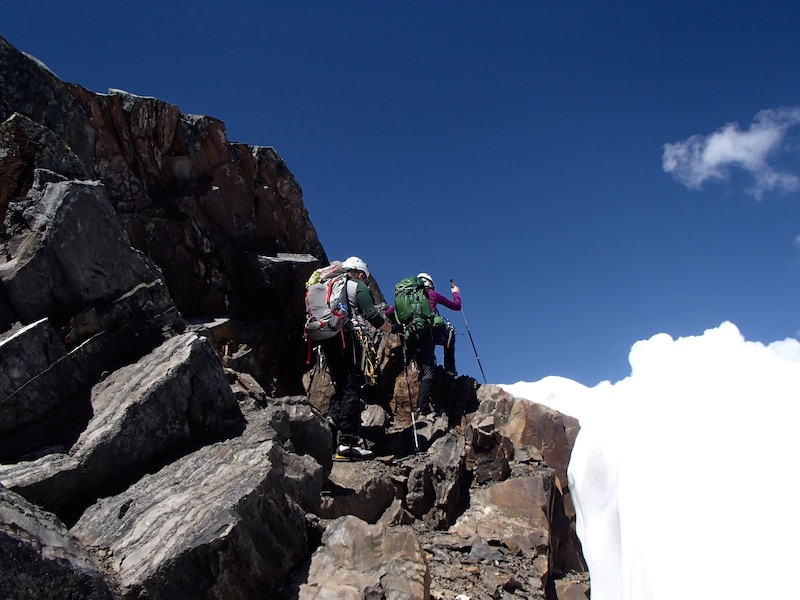 On approach to the summit. Efficient movement on rocky terrain is key. Photo by Amber McMinn.