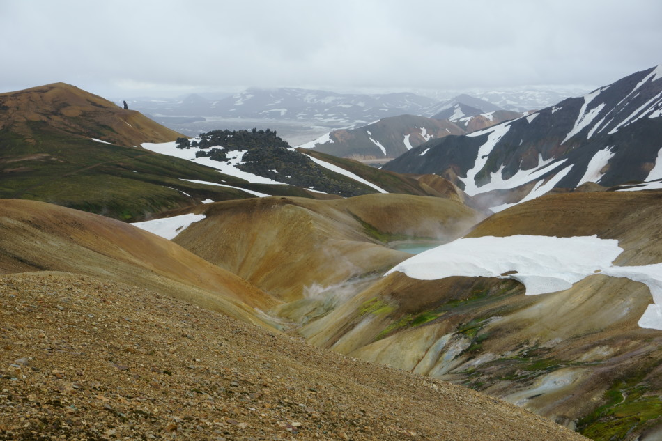 Lots of geothermal hot springs in the mountains near Landmannalaugar. Photo by Kara Folkerts.