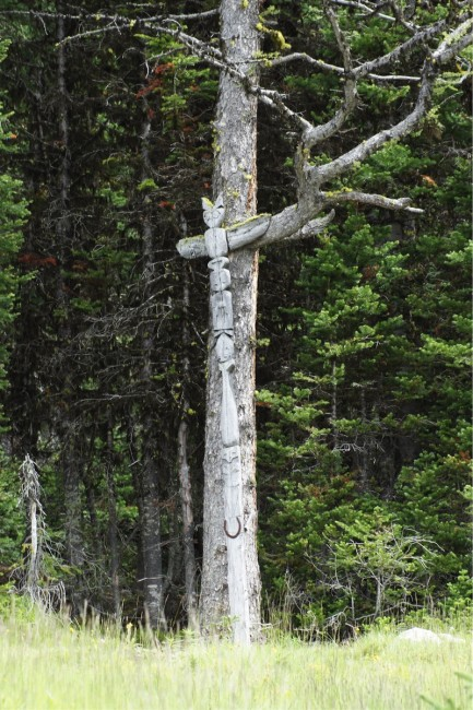 Totem pole at Sunburst Lake, Assiniboine Provincial Park. Photo by Susan Courty.