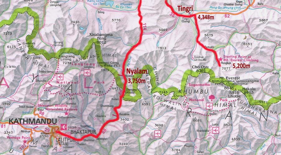 Kathmandu to Everest Tibet Base Camp.