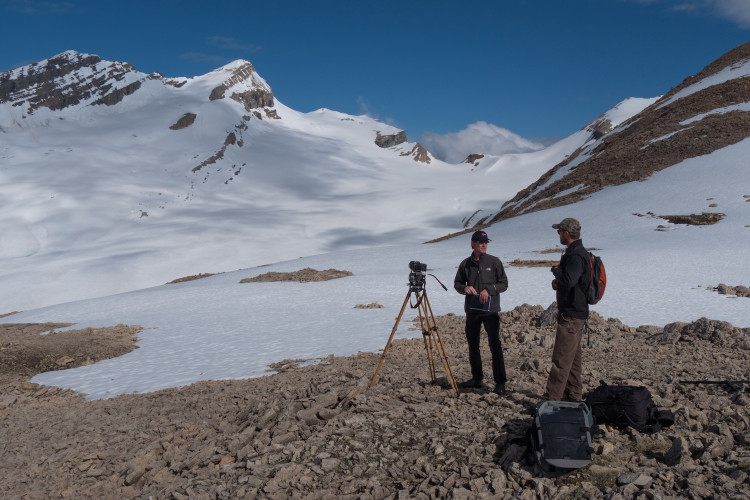 June 5, 2015, Darren Enderwick & Roger Vernon at site of the future Richard and Louise Guy hut, Yoho National Park. Photo by Will Schmidt.