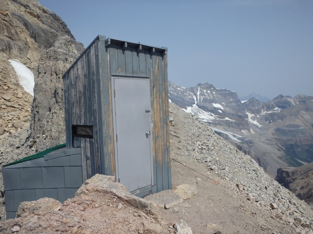 Abbot Pass outhouse also wanting some paint. Photo by Gavin Boutet.