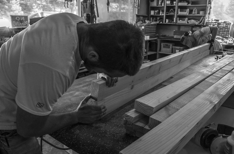 ACC staff Ryan Linskill and Steve Doucette building benches. Photo by Rebecca Ferri.