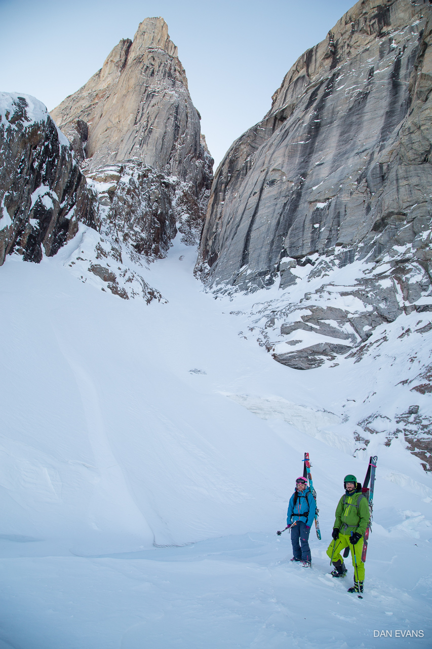Patrick Bruce and me at the base of Polar Star Couloir. Photo by Dan Evans