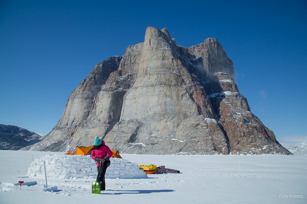Staying warm and building a wind break at our fourth camp by the Walker Citadel. Photo by Dan Evans.