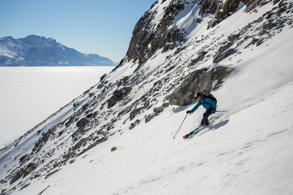 Skiing down Iron Cross. Photo by Dan Evans.