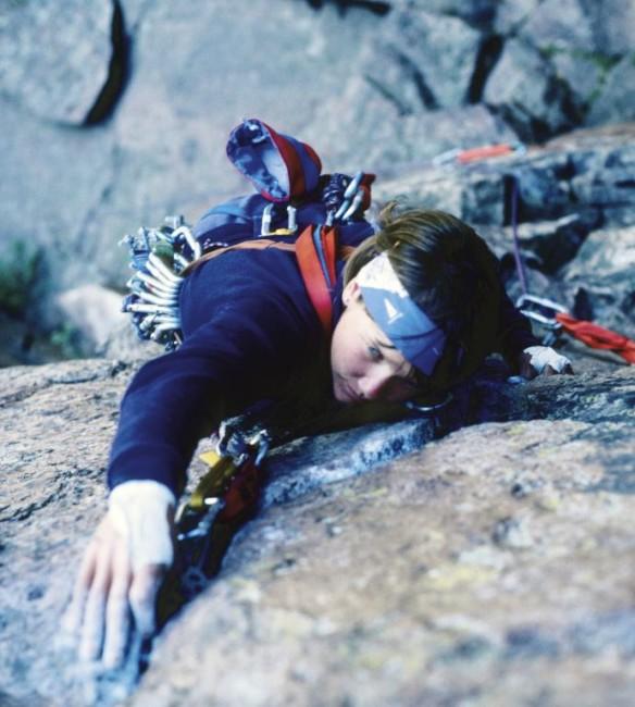 Helen climbing in Eldorado Canyon. Photo by Mike Shaw, 1984.