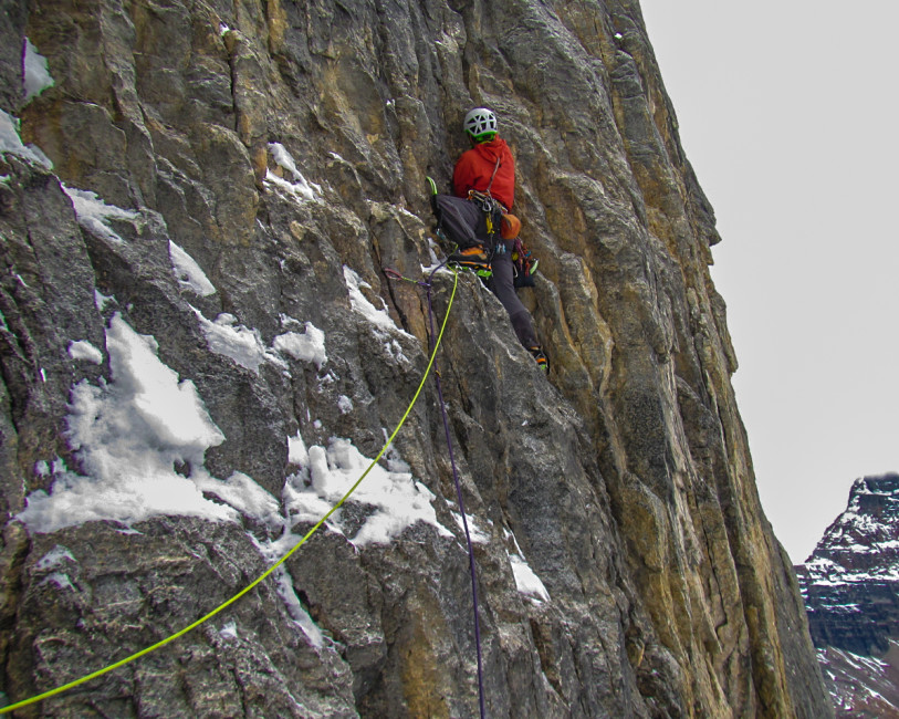 Ian Welsted on new ground in the Valley of the 10 Peaks. Photo by Jay Mills.