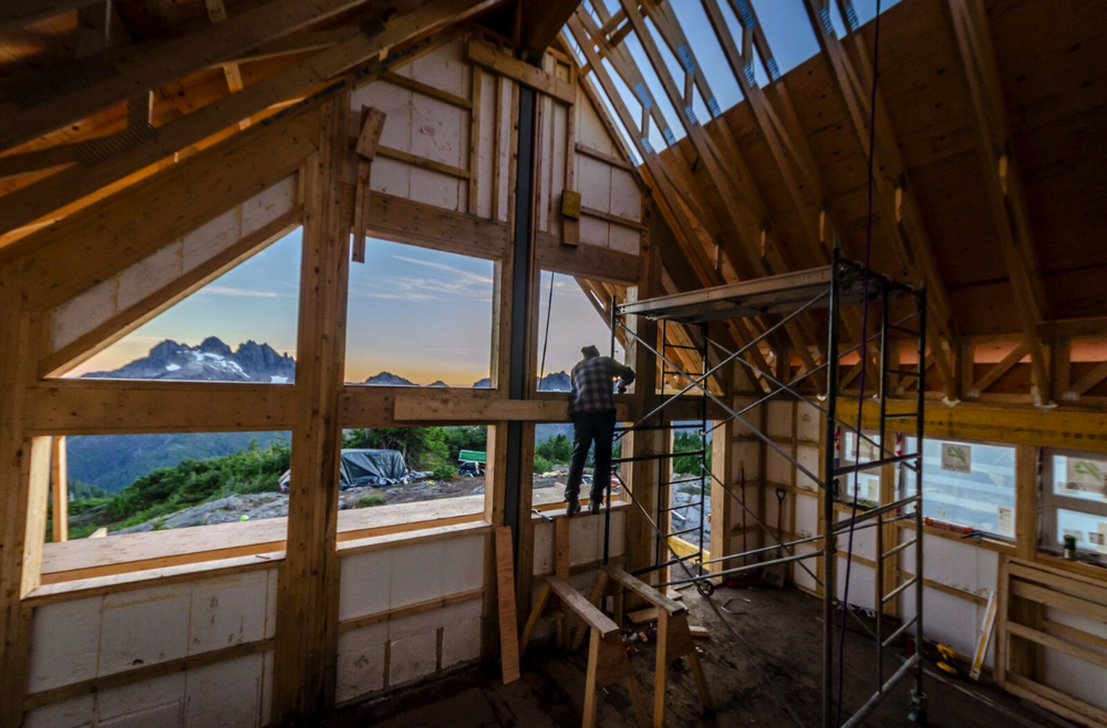 Guests have great views of Triple Peak from inside the hut. Photo by Chris George.