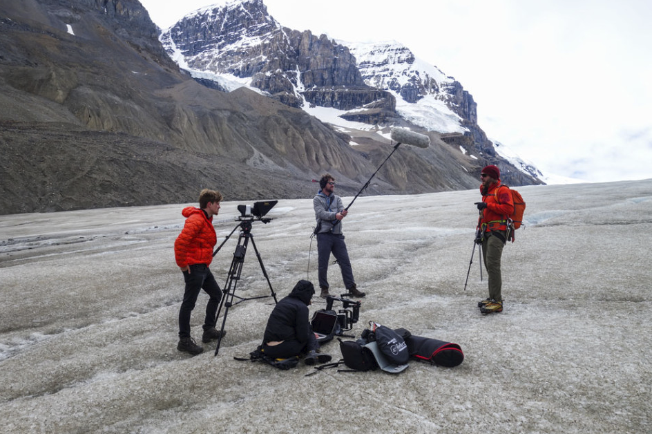 "Matt Peter filming another ""Tech Tip"" from the Columbia Icefield in the Rocky Mountains (Jasper National Park, Alberta, Canada)."