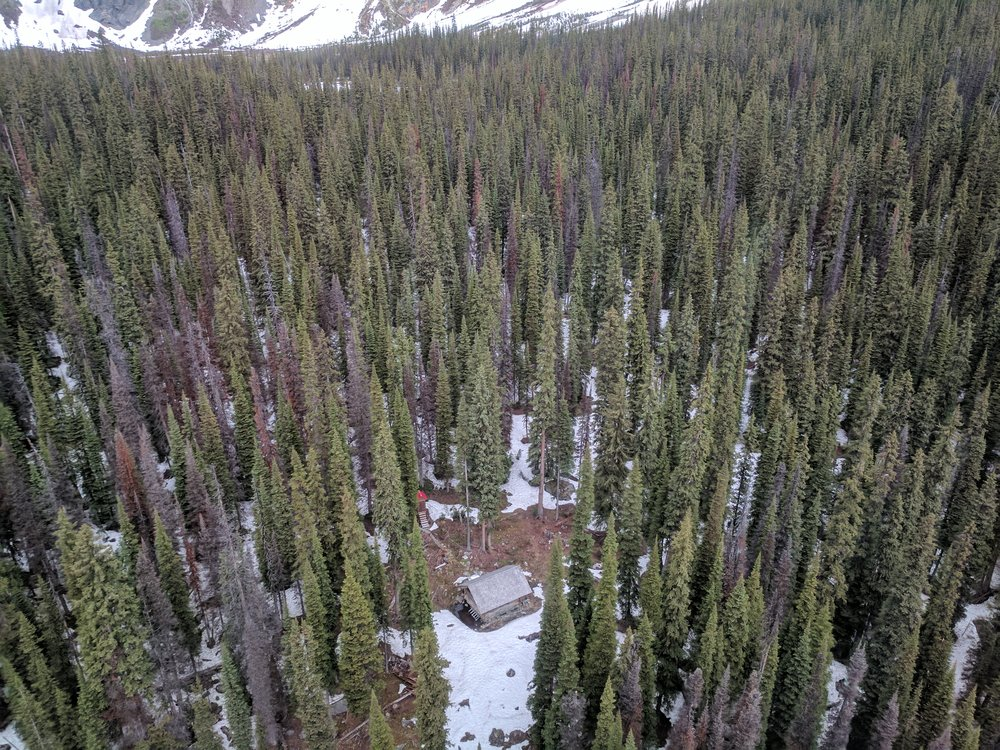 Glacier Circle Cabin from the helicopter. Where to land? Photo by Nicole Larson.