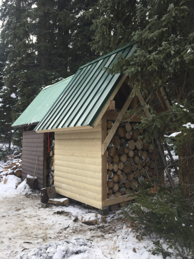 The new woodshed at Stanley Mitchell Hut. Photo by Nicole Larson.