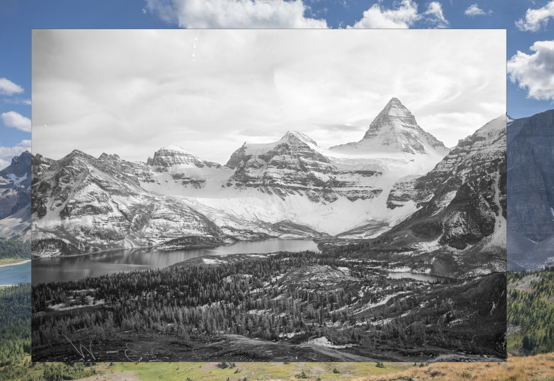 Check out http://explore.mountainlegacy.ca/stations/261 for the location and an overlay view of this image repeated in 2010. B&W inset courtesy of LAC/BAC and MLP.
