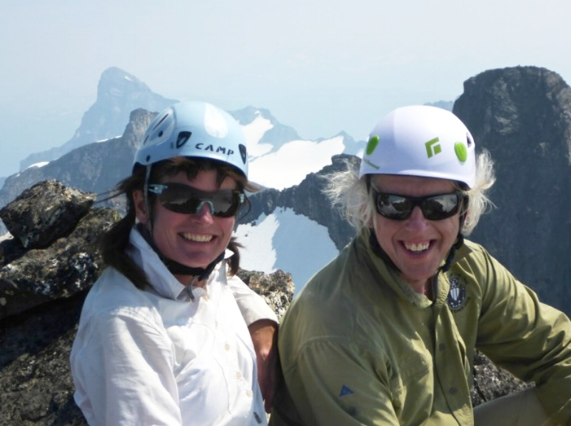 Alison Dakin and Roger Laurilla at summit of Cougar Pk. Frenchman Cap is in the background in a bit of smoke.
