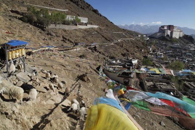Near the Tashilunpo Monastery in Shigatse, Tibet, enroute to Lhasa.