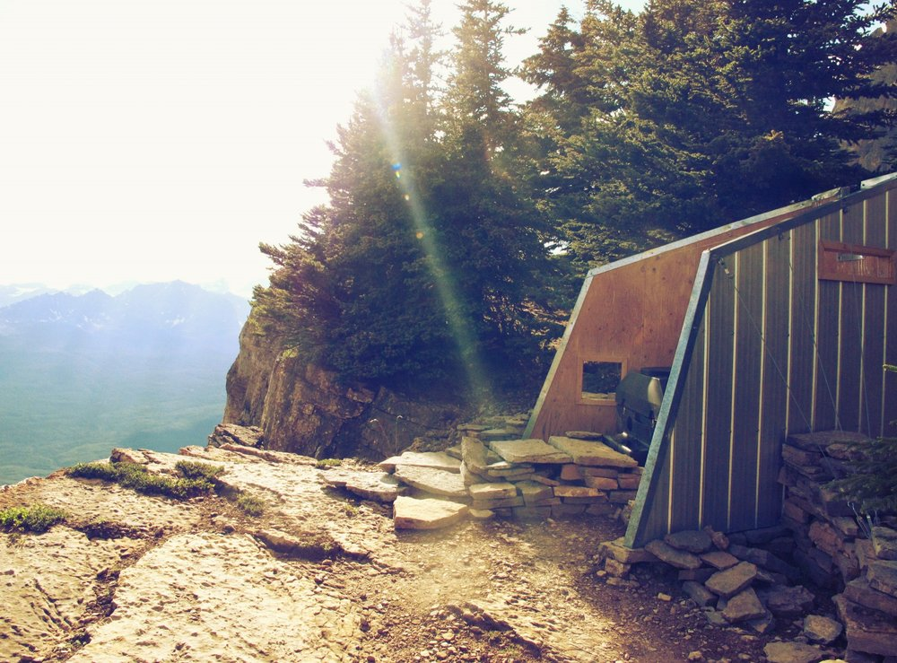 The Castle Mountain Hut outhouse. Epic views for epic poos. Photo by Nicole Larson.
