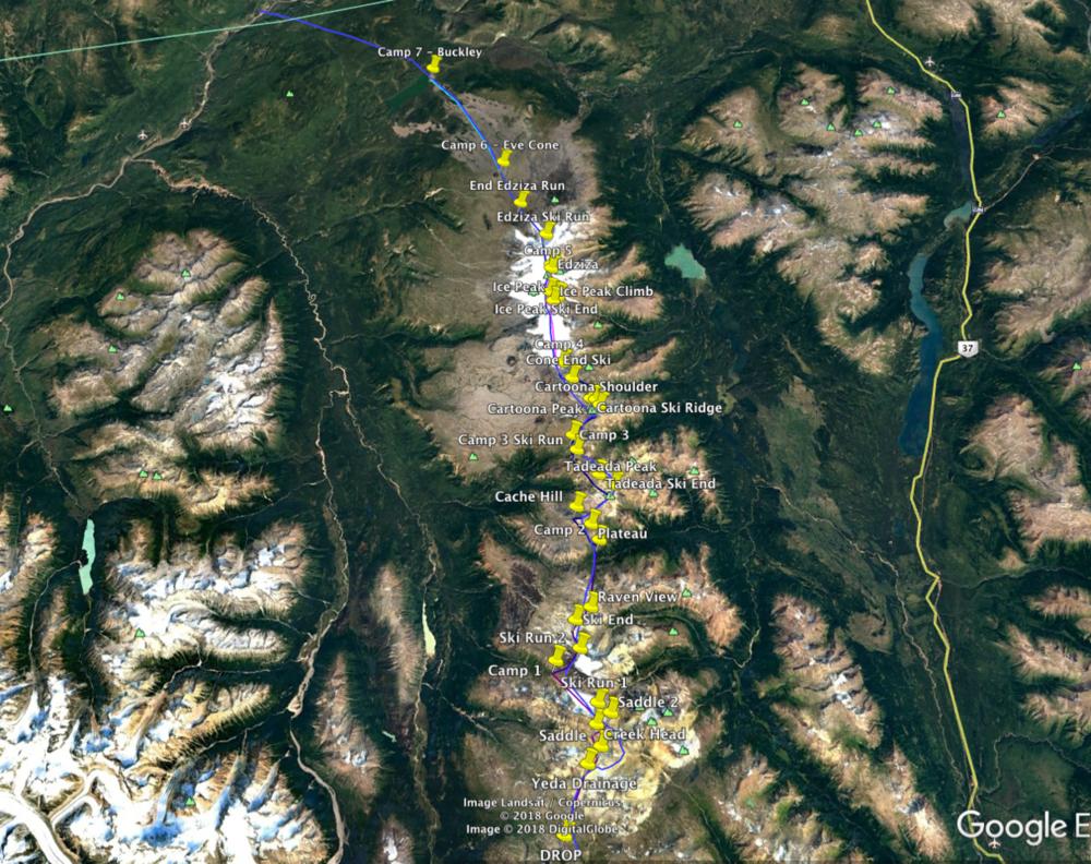 Proposed route in Mt. Edziza Provincial Park