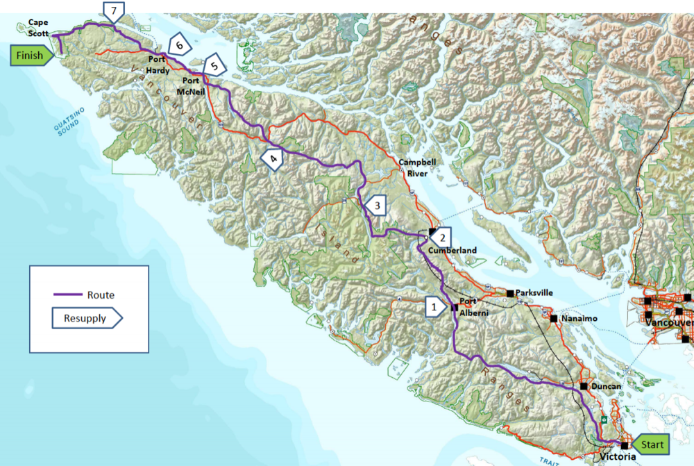 Proposed route crossing Vancouver Island.