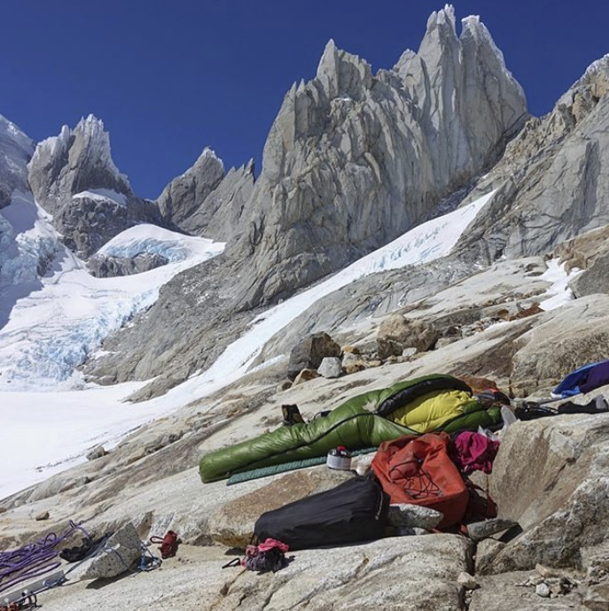 """""""The moment we realized we were 12 hours too late getting to the base of Cerro Torre after two days of beast mode."""" Photo by Michelle Kadatz."""