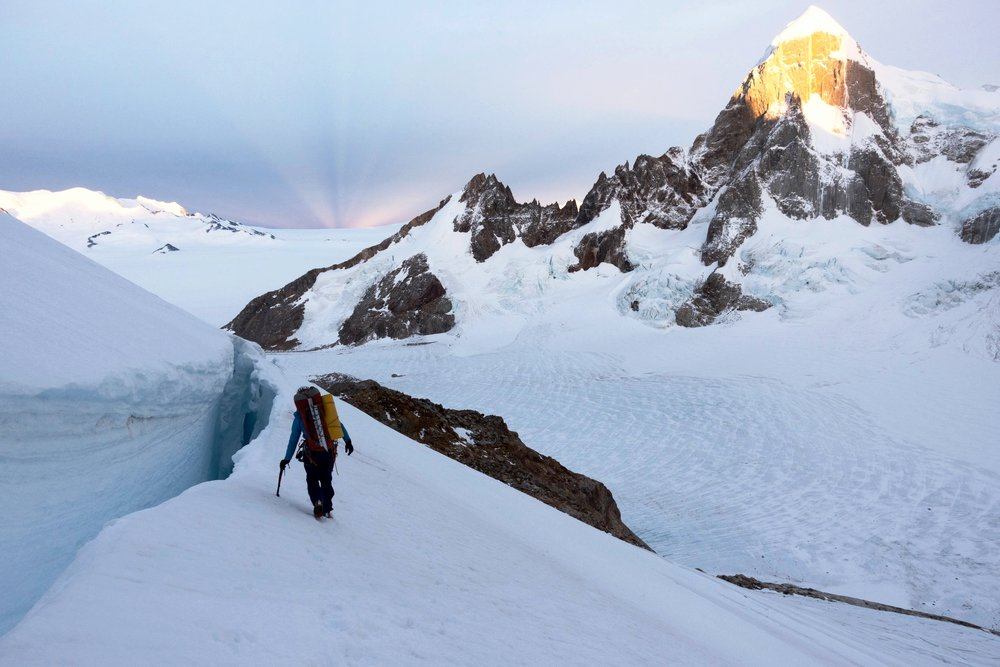 Hannah descending from our high point on the West Face of Cerro Torre. Photo by Michelle Kadatz.