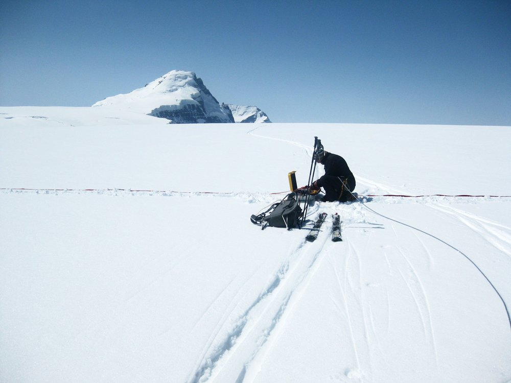 Mike Demuth working on the plateau of the Columbia Icefield.