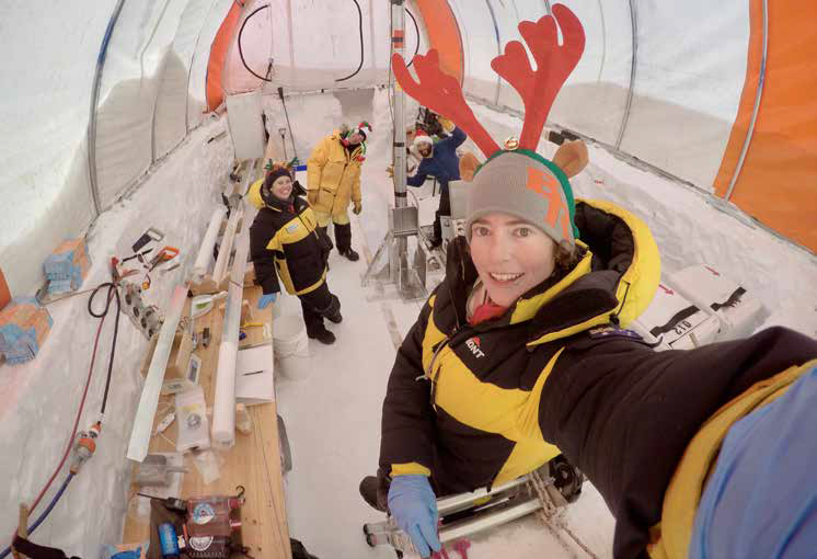 Alison Criscitiello and her Australian and Danish team, drilling to 300m in East Antarctica, Christmas Day, 2017.