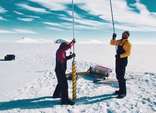 Drilling for ice core samples.Photo: Alison Criscitiello.