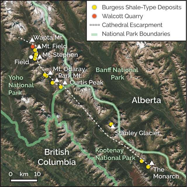 Burgess Shale locations. Credit: K. Cantner, AGI.